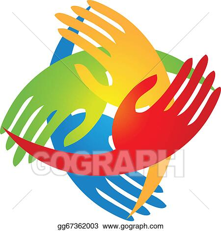 vector illustration hands in a diamond shape logo eps clipart