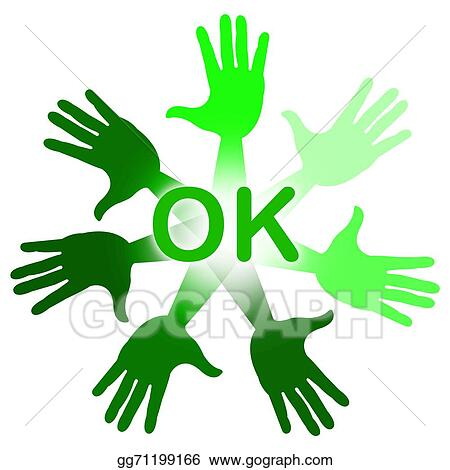 Clip Art Hands Ok Means All Right And Ok Stock Illustration