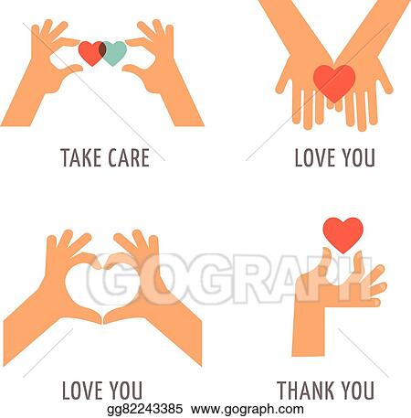 Vector Stock Hands Set Support Love Thank You And Take Care