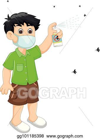 Vector Illustration Handsome Boy Cartoon Spray Insect Reppelent Stock Clip Art Gg101185398 Gograph