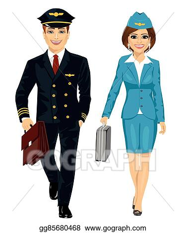 Vector Illustration - Handsome man wearing airline pilot