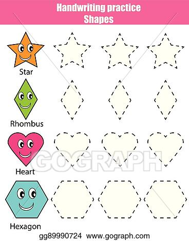 picture regarding Shapes Printable identified as Vector Inventory - Handwriting educate sheet. useful