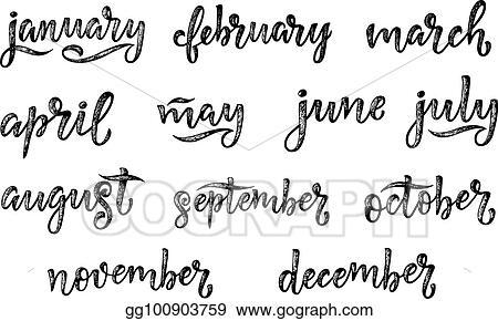 EPS Illustration - Handwritten names of months december