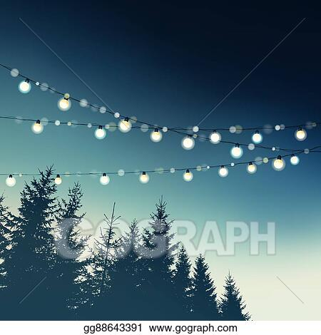 Hanging Decorative Holiday Party Lights Christmas Birthday Wedding Garden Greeting Card Invitation Forest Trees