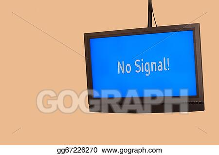 Stock Illustration - Hanging monitor with no signal  Stock