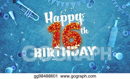 Drawing Happy 16th Birthday Card With Beautiful Details Clipart