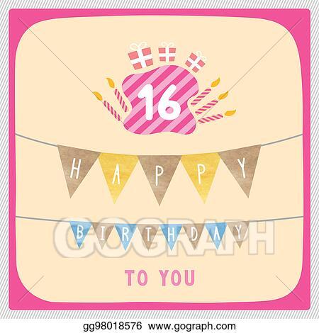 Stock Illustration Happy 16th Birthday Card Clipart Gg98018576