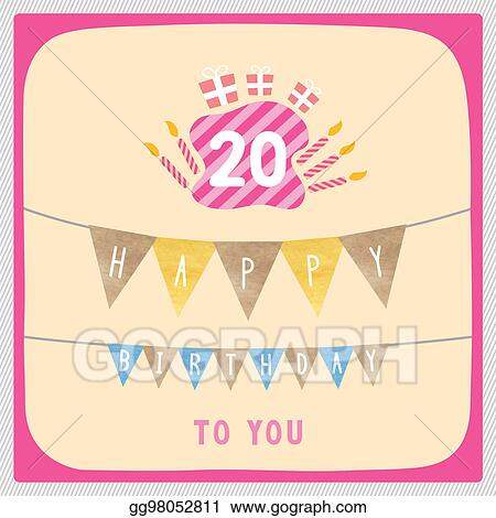 Stock Illustration Happy 20th Birthday Card Clipart Drawing