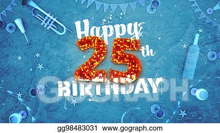 Clipart Happy 25th Birthday Card With Beautiful Details Stock