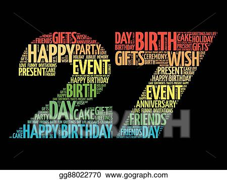 Incredible Vector Art Happy 27Th Birthday Word Cloud Eps Clipart Personalised Birthday Cards Paralily Jamesorg