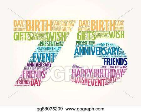 Vector Clipart Happy 75th Birthday Word Cloud Vector Illustration