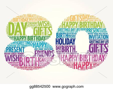 Eps Illustration Happy 80th Birthday Word Cloud Vector Clipart