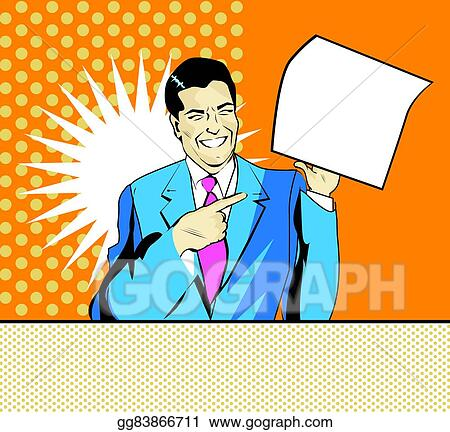 stock illustration happy advertising man with sheet of paper in a rh gograph com advertisement clipart
