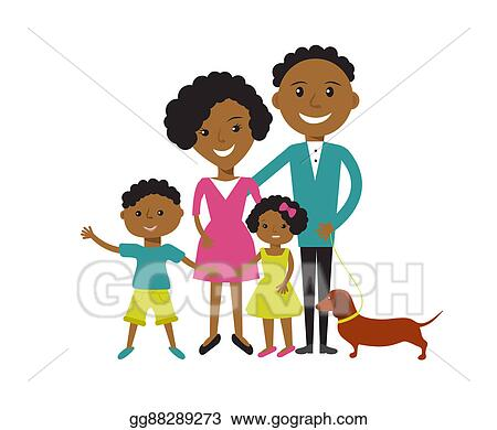 Happy African American Family Clipart | k14431281 | Fotosearch