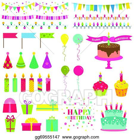 Clip Art Vector Happy Birthday And Party Set For Design And Scrapbook In Vector Stock Eps Gg69555147 Gograph