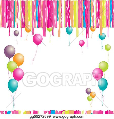 Happy Birthday Balloons And Confetti Insert Your Text Here