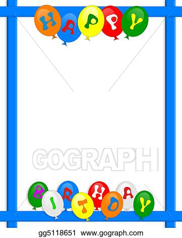 Drawing Happy Birthday Balloons Border Frame Clipart