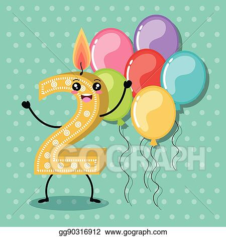 Happy Birthday Candle Number Character
