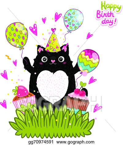 Vector Art Happy Birthday Card Background With A Cat Clipart