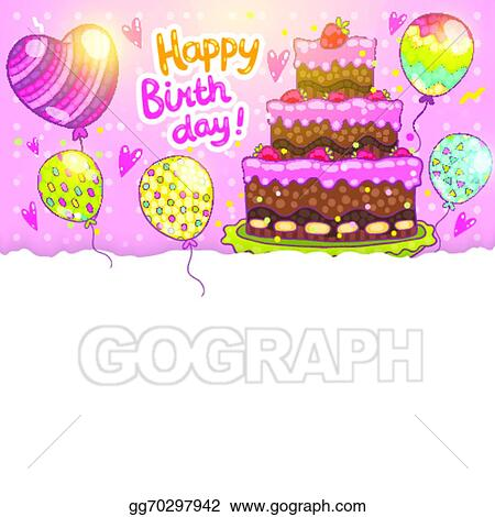 Vector Stock Happy Birthday Card Background With Cake Clipart