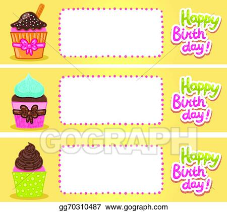 Eps Vector Happy Birthday Card Background With Cupcakes Stock
