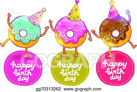 Vector Clipart Happy Birthday Card Background With Cute Donut
