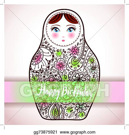 Happy Birthday Card Design Russian Doll Matrioshka Babushka Sketch