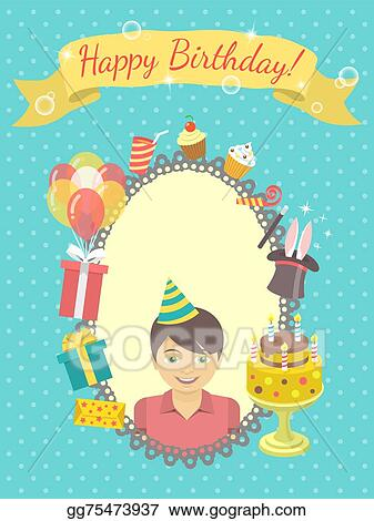 Vector Art Happy Birthday Card For Boy Eps Clipart Gg75473937