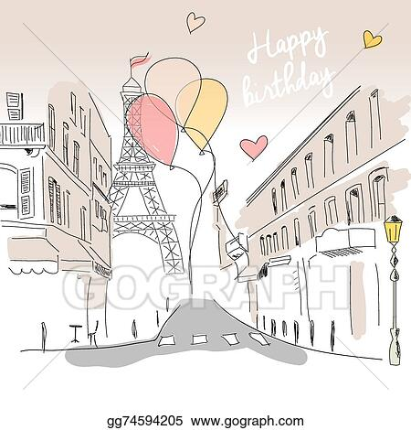Vector Art Happy Birthday Card From Paris Street Eiffel Tower And