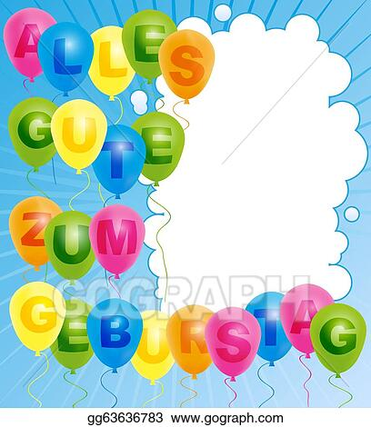 Vector Art Happy Birthday Card German Clipart Drawing