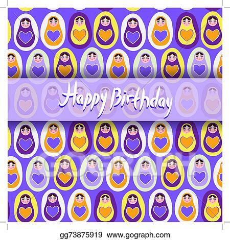 Happy Birthday Card Pattern Orange Russian Dolls Matryoshka On A Purple Background