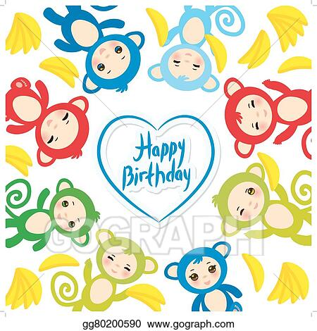 EPS Illustration Happy Birthday Card Template Funny Green Blue