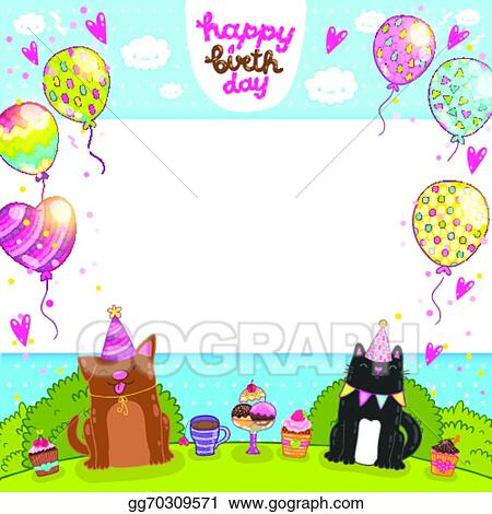 Eps Vector Happy Birthday Card With Cat Dog And Cupcake Stock