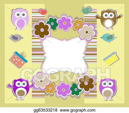 Stock Illustrations Happy Birthday Card With Cute Owls Birds