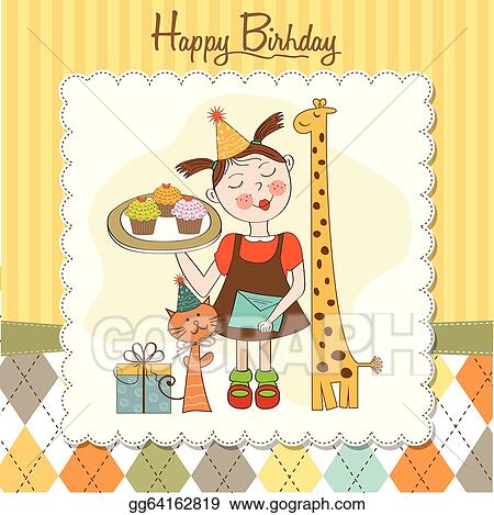 Vector Stock Happy Birthday Card With Funny Girl Animals And