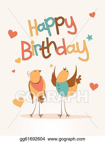 Vector Illustration Happy Birthday Card With Love Bird Eps
