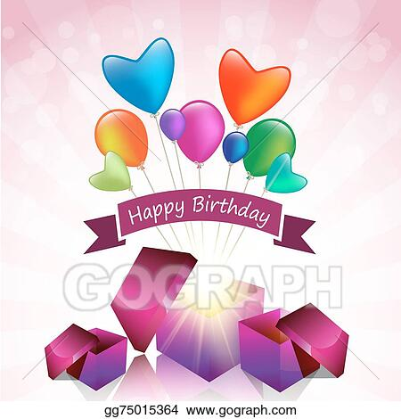 Vector Art Happy Birthday Card With Magic Gift Box And Colored