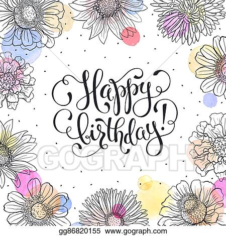 Vector Stock Happy Birthday Card Clipart Illustration Gg86820155