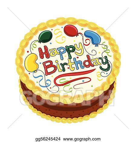 Vector Art Happy Birthday Chocolate Cake Clipart Drawing