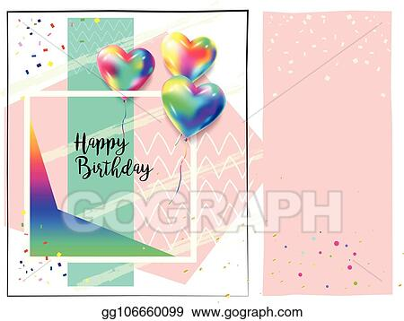 Vector Art Happy Birthday Confetti Greeting Card Clipart Drawing