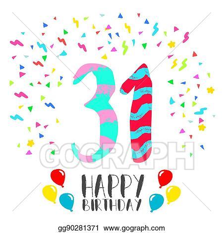 Vector illustration happy birthday for 31 year party invitation happy birthday for 31 year party invitation card stopboris Choice Image