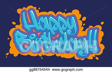 Vector Clipart Happy Birthday Graffiti Card Vector Illustration