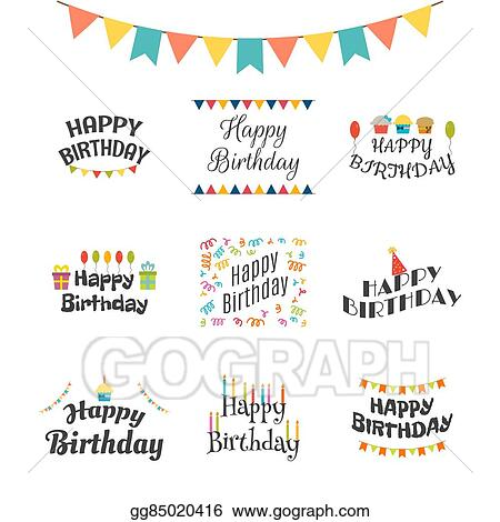 Happy Birthday Greeting Cards Theme Labels Typography Design Elements