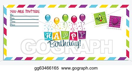 Vector stock happy birthday invitation card clipart illustration happy birthday invitation card filmwisefo