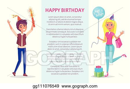 Vector Stock Happy Birthday Invitation Man And Woman