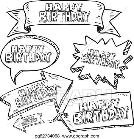 EPS Illustration - Happy birthday labels and tags  Vector