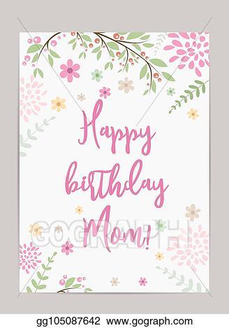 Eps Vector Happy Birthday Mom Greeting Card Stock Clipart