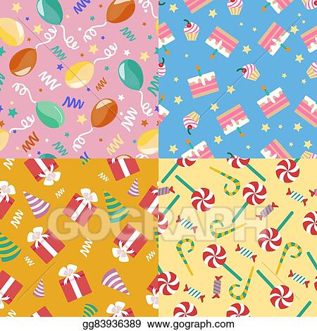 Swell Vector Clipart Happy Birthday Seamless Patterns Set With Cakes Funny Birthday Cards Online Sheoxdamsfinfo