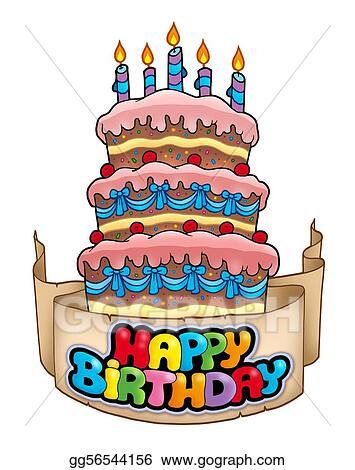 Happy Birthday Theme With Tall Cake