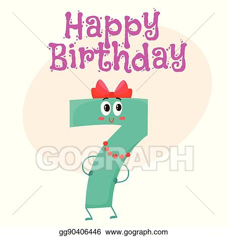 Vector Art Happy Birthday Vector Greeting Card Design With Seven